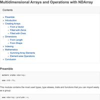 Multidimensional Arrays and Operations with NDArray